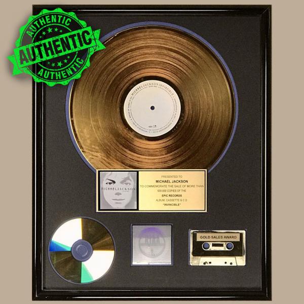 "Michael Jackson RIAA gold award ""INVINCIBLE"""