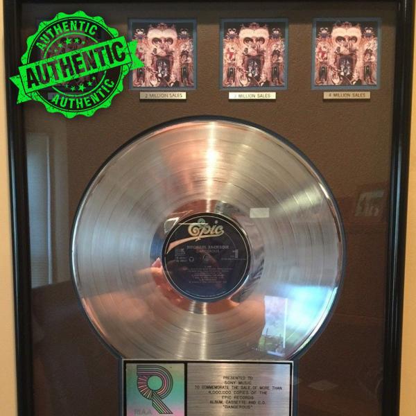 "Michael Jackson platinum RIAA award ""DANGEROUS"""