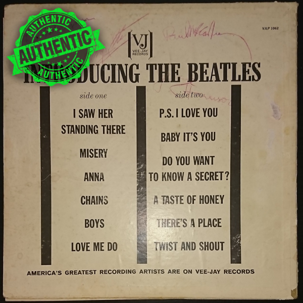 """The Beatles signed """"INTRODUCING"""" record"""
